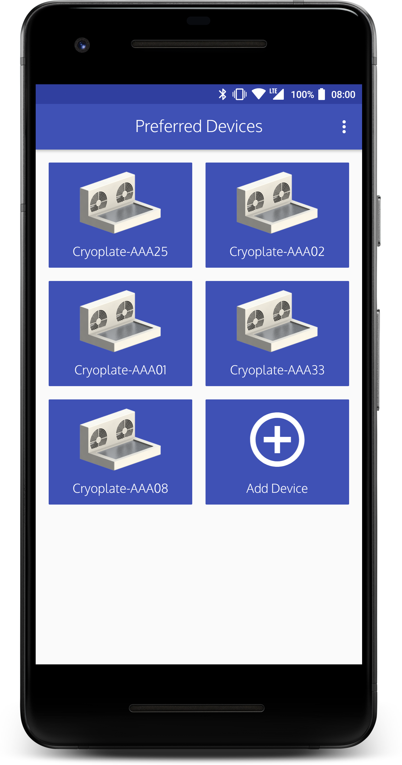 Cryoplate App device listing