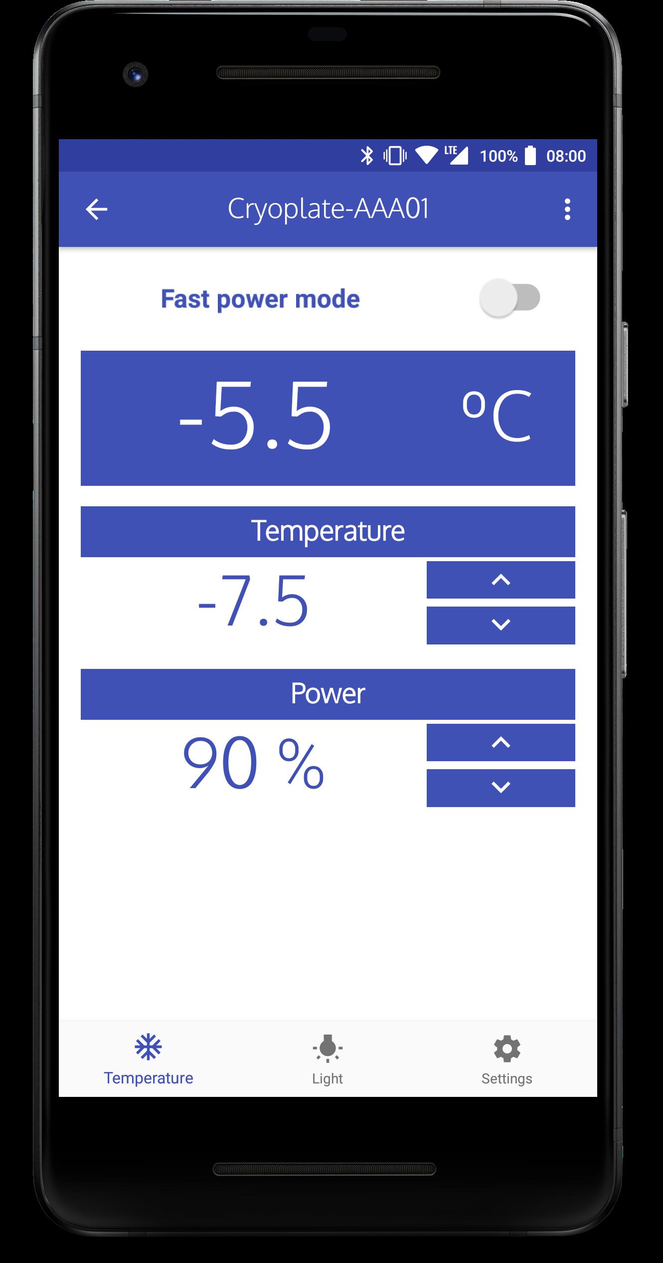 Cryoplate App temperature control