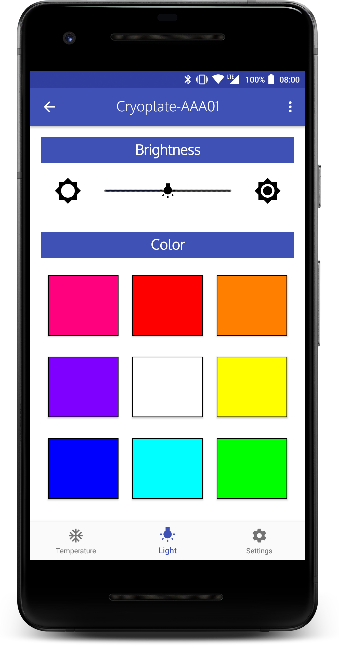 Cryoplate App LED intensity and color