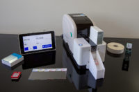 Automatic microscope slide label printer